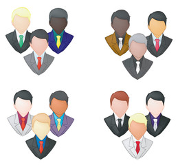 Set of businessman icon in group (pencil line)