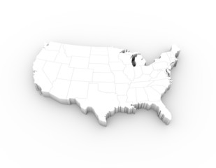 USA map white with states and clipping path