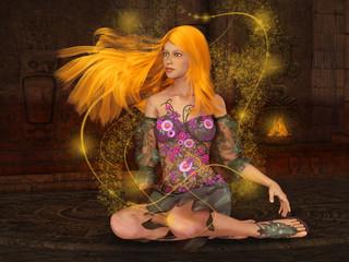 Foto op Aluminium Feeën en elfen Fire Fairy