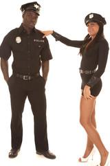Man and woman cop she flirting
