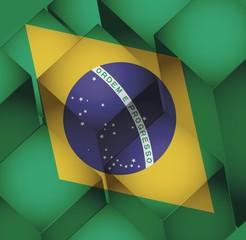 brazil. brazilian 3d cubes flag illustration
