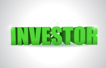 investor 3d text illustration design