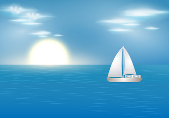 Blue ocean with sailing boat