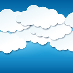 Beautiful seamless blue sky with paper clouds