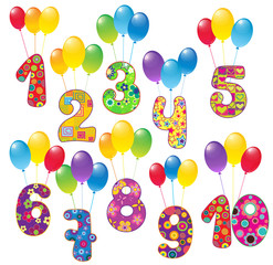 Сute numbers with balloons