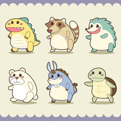 retro cute animals set