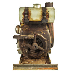 Old rusty motor engine isolated on white