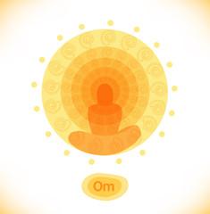 Shiny mandala  Buddhistic banner  Hinduism symbol