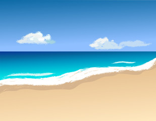 Vector illustrashion, shoreline and waves