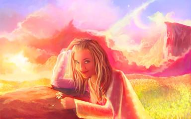 Girl in fantasy world