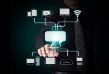 Business person pushing icon on a touch screen interface