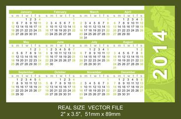 pink pocket calendar 2014, start on Sunday, SIZE: 51mm x 89mm
