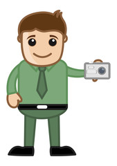 Clicking a Picture - Office Character - Vector Illustration