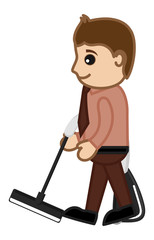 Man Cleaning with Vacuum Cleaner - Vector Illustration