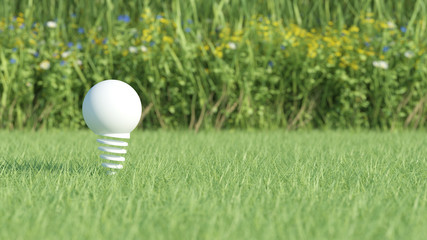 White light bulb on grass field