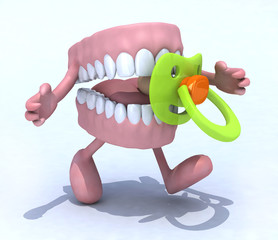 denture cartoon with arms, legs and baby pacifier