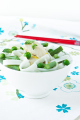 Chicken and peas laksa with mint leaves