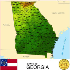 Georgia USA counties name location map background