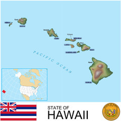 Hawaii USA counties name location map background