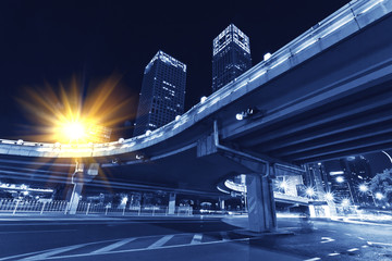 Modern transportation, night overpass