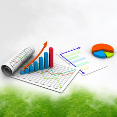 Business graph with chart in abstract background