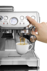 isolated coffee maker with the cup