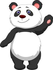 Cute panda cartoon waving