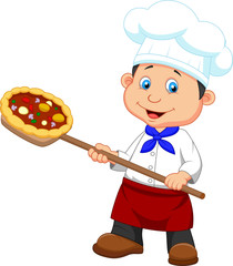 Illustration of a baker with Pizza