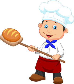 Illustration of a baker with bread
