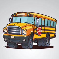 cartoon school bus isolated