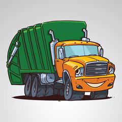 cartoon trash truck character isolated