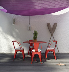 Contemporary Luxury outdoor summer lounge, purple canopy