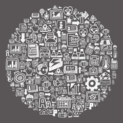 doodle pattern -  blackboard web circle
