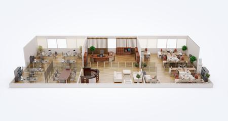 3D cut of office building