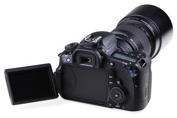 appareil photo avec écran LCD ouvert