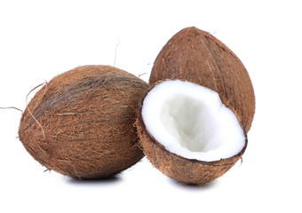 coconuts and slice on a white background