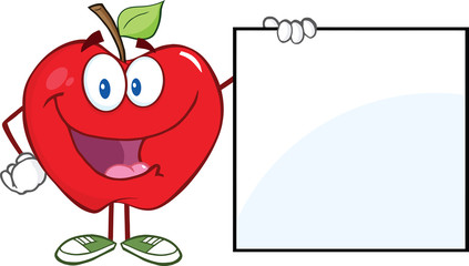 Happy Apple Cartoon Character Showing A Blank Sign