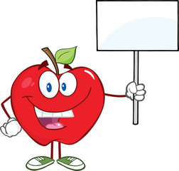 Happy Apple Cartoon Character Holding Up A Blank Sign