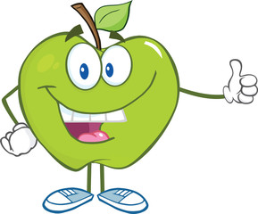 Smiling Green Apple Cartoon Character Holding A Thumb Up