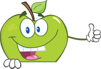 Green Apple Character Holding A Thumb Up Over Blank Sign