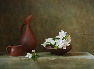 Vintage still life with flowers of apple