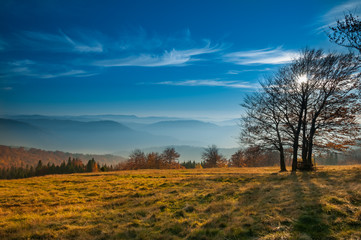The mountain autumn landscape in Beskidy, Poland