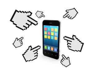 Cursors around mobile phone.