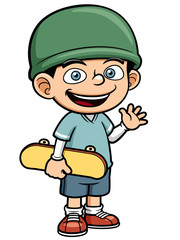 Vector illustration of Boy holding Skateboard
