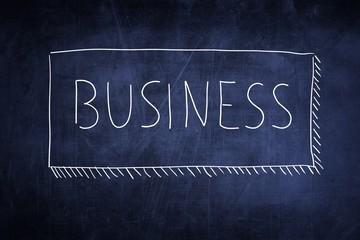 Word business handwritten on a chalkboard, concept