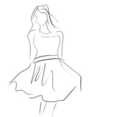 Concept women in dress, fashion hand drawing sketch