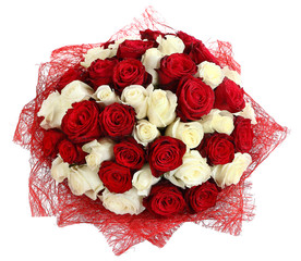 Floristic arrangement of white and red roses. Floral composition