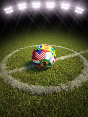 Soccer ball on field with participating countries