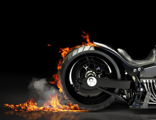 Photo sur Plexiglas Motocyclette Custom black motorcycle burnout. Room for text or copyspace