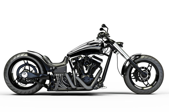 Custom black motorcycle side view on a white background